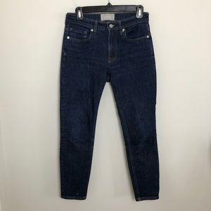 EVERLANE- Mid-Rise Straight Leg Dark Wash Jeans